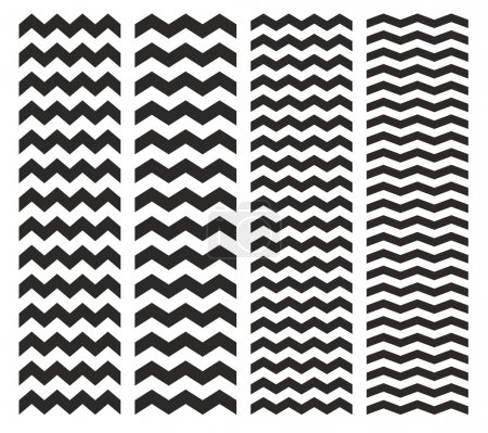 Illustration for Tile chevron vector pattern set with black zig zag on white background - Royalty Free Image
