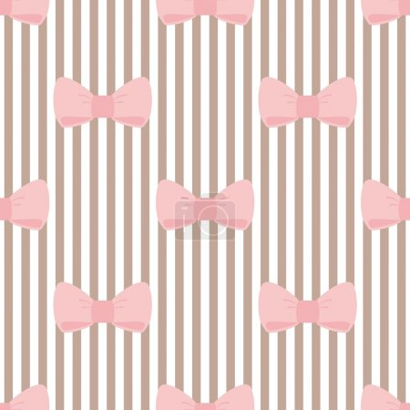 Illustration for Seamless vector pattern with pastel pink bows on a light brown and white stripes background. For tile desktop wallpaper, cute kids background or website design - Royalty Free Image