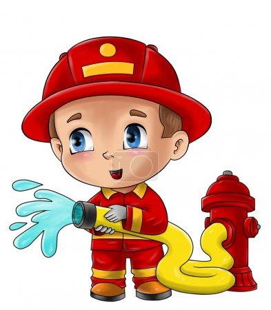 Photo pour Illustration de dessin animé mignon d'un pompier - image libre de droit