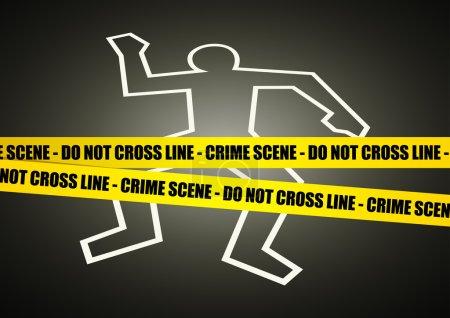 Vector illustration of a police line on crime scen...