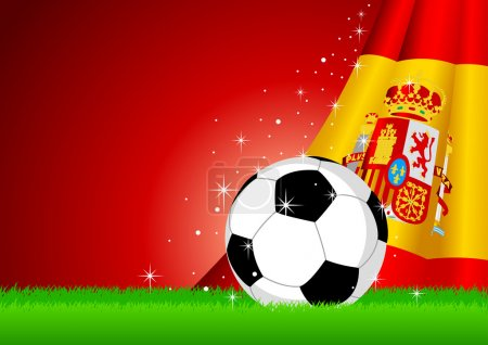 Spain Flag and Soccer Ball