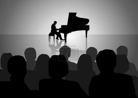 Illustration pour Illustration en silhouette d'un récital de piano - image libre de droit