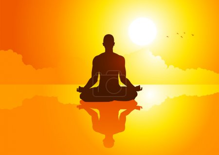Illustration for Silhouette illustration of a man figure meditating - Royalty Free Image