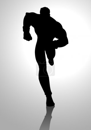 Illustration for Silhouette illustration of a running muscular male figure - Royalty Free Image