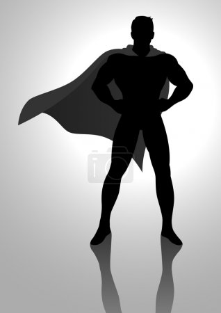 Illustration for Silhouette illustration of a superhero - Royalty Free Image