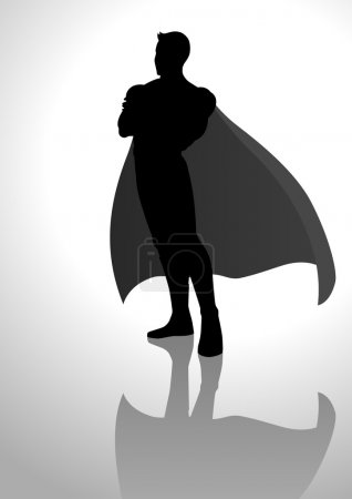 Illustration for Silhouette illustration of a posing superhero - Royalty Free Image
