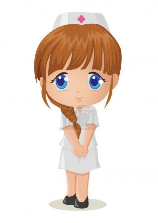 Illustration for Cute cartoon illustration of a nurse - Royalty Free Image