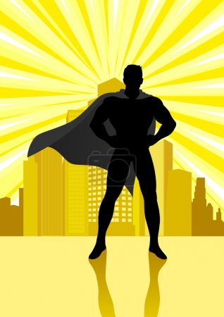 Illustration for Silhouette illustration of a superhero standing in front of cityscape - Royalty Free Image