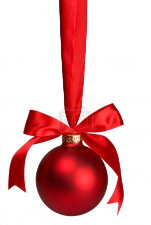 red christmas ball hanging