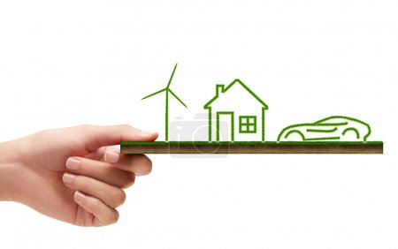 Photo for Green grass house, car, windmill and sun ecology concept - Royalty Free Image