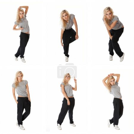 Photo for Collage of images stylish hip hop dancer posing over white background - Royalty Free Image