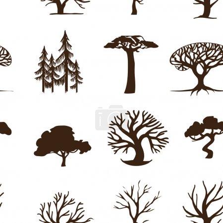 Illustration pour Arbres de fond sans couture, hipster forêt - image libre de droit