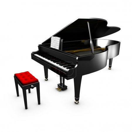 3D opened grand piano and its chair. White background