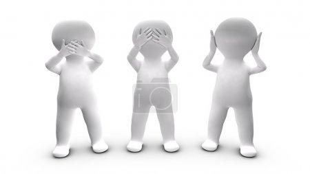 Photo pour Métaphore de personnes qui choisissent de ne pas parler, entendre et voir. Cette illustration fait référence à la maxime picturale des trois singes . - image libre de droit