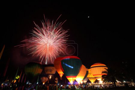 balloon festival with fireworks