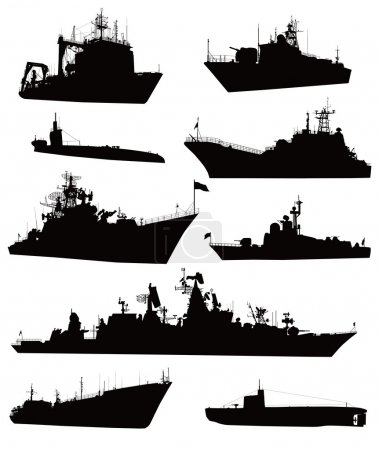 Illustration for High detailed military ship silhouettes set. Vector - Royalty Free Image