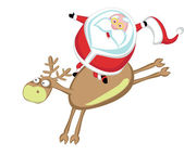 Funny cartoon Santa riding a reindeer