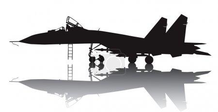 Illustration pour Silhouette vectorielle d'avion militaire avec réflexion - image libre de droit