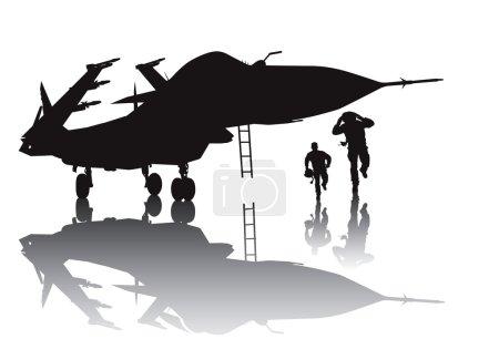 Illustration pour Aéronefs militaires et pilotes en marche silhouette vectorielle avec réflexion - image libre de droit