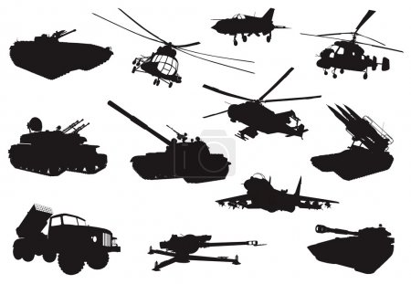 High detailed military silhouettes set. Vector...