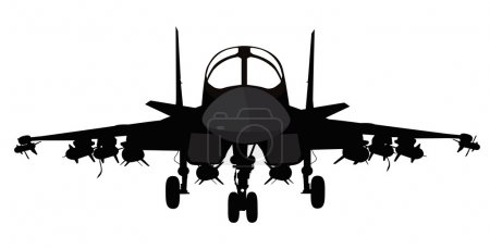 Illustration for Su-34 Russian fighter-bomber aircraft vector silhouette - Royalty Free Image