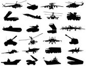 Detailed weapon silhouettes set Vector on separate layers
