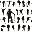 People with backpack vector silhouettes set. EPS 8...