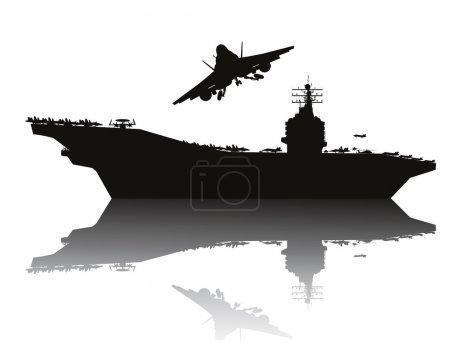 Illustration pour Porte-avions et avions volants silhouettes détaillées. Vecteur EPS10 - image libre de droit