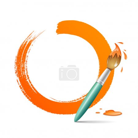 Paint brush. paint circle orange background
