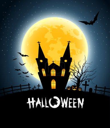 Illustration pour Halloween fête de la maison pleine lune, illustration vectorielle - image libre de droit