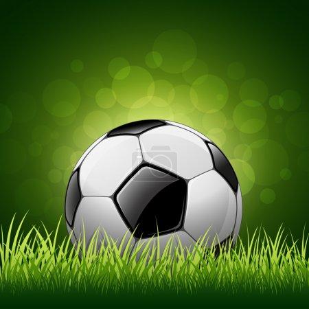Illustration for Soccer ball on green grass background, vector illustration - Royalty Free Image