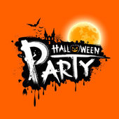 Happy Halloween party text design on orange background vector illustration