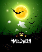 Happy Halloween ghost design on green background vector illustration