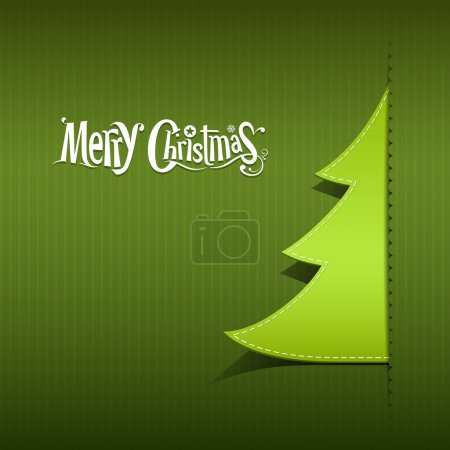 Merry Christmas paper green tree design
