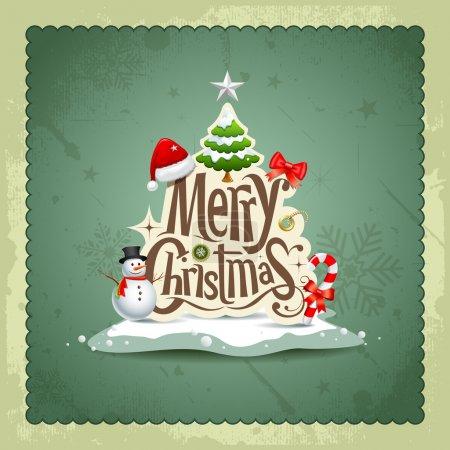 Illustration pour Joyeux Noël vintage design carte de vœux fond, illustration vectorielle - image libre de droit