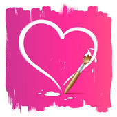 Paint brush heart shape on pink background vector illustration