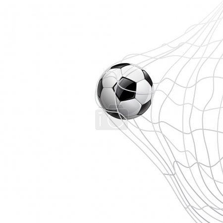 Illustration for Soccer ball in net. on goal, vector illustration - Royalty Free Image