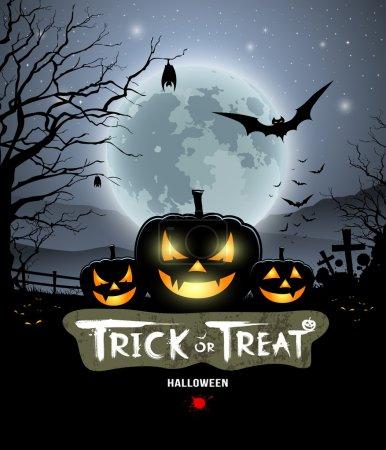 Illustration pour Halloween tour ou traiter citrouille fond de conception, illustration vectorielle - image libre de droit