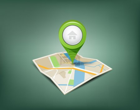 Illustration for Folded maps with green color point markers design background, vector illustration - Royalty Free Image