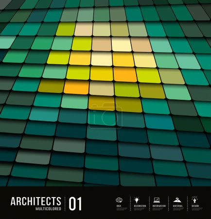 Illustration for Architects abstract multicolored tiles materials design background, vector illustration - Royalty Free Image