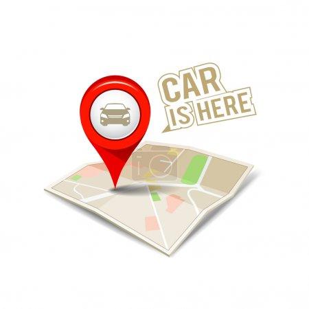 Illustration pour Carte pointeur rouge avec mon arrière-plan de conception isolé de voiture, illustration vectorielle - image libre de droit