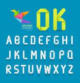 Paper origami alphabet letter design on blue background Vector illustration