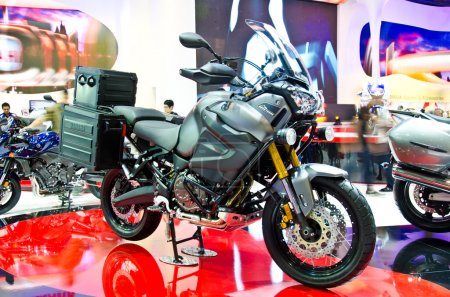 Photo for BANGKOK - MARCH 28 : The Yamaha XT1200Z Super Tenere motorcycle on display at The 34th Bangkok International Motor Show 2013 on March 28, 2013 in Bangkok, Thailand. - Royalty Free Image