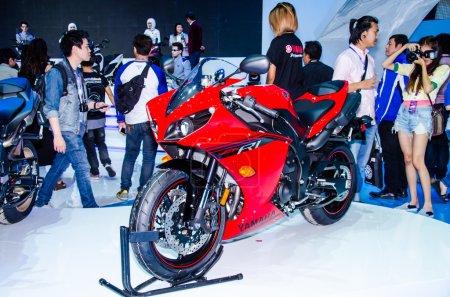 Photo for BANGKOK - MARCH 25: Yamaha YZF R1 motorbike on display at The 35th Bangkok International Motor Show on March 25, 2014 in Bangkok, Thailand. - Royalty Free Image