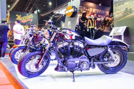 Photo for BANGKOK - MARCH 24: Harley-Davidson Sportster Forty-Eight model  XL 1200X motorbike on display at The 35th Bangkok International Motor Show on March 24, 2014 in Bangkok, Thailand. - Royalty Free Image