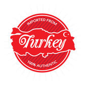 Illustrated vector label or badge that reads Imported from Turkey 100 percent authentic Includes the general rough outline shape of the country borders