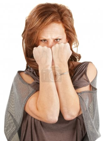 Mad Woman Hiding Behind Fists