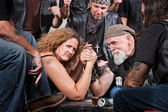 Serious Woman Arm Wrestling