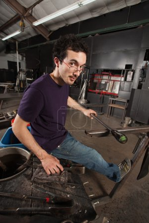 Glass Worker at Workbench