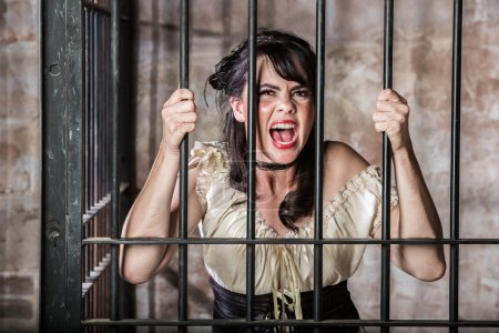 Portrait of a Screaming Female Prisoner in the Old...